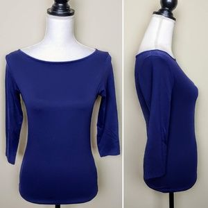 ZARA Collection Top, Blue Solid 3/4 Sleeve, M